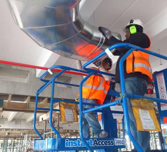 Two sheet metal staff installing system